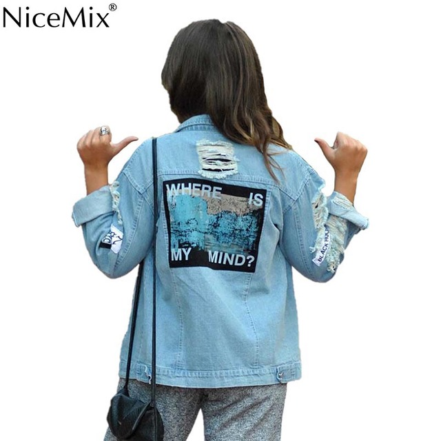 US $27 06 39% OFF|NiceMix 2019 Autumn Denim Jacket Women Print Where Is My  Mind Bomber Jacket Appliques Streetwear Vintage Ripped Jeans Jacket-in