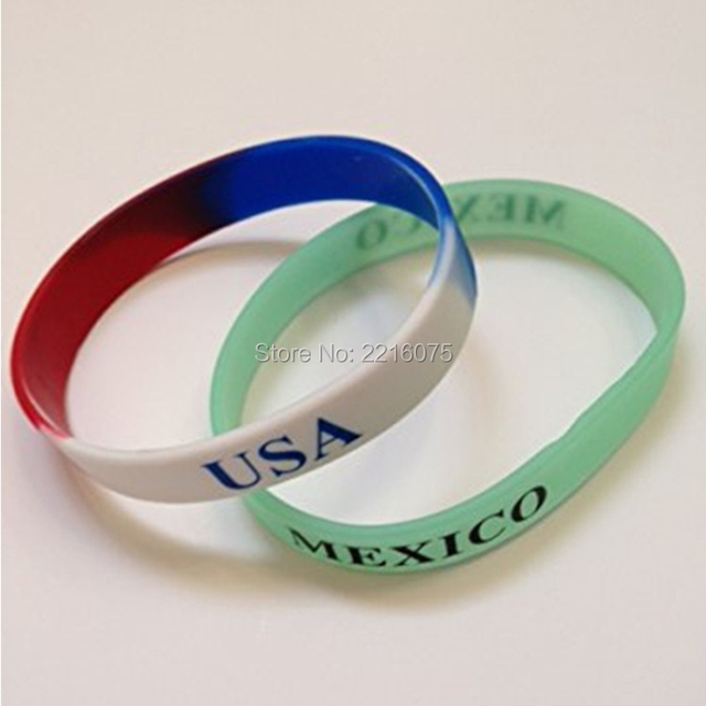 US $160 0 |300pcs Flag World Cup USA Mexico wristband silicone bracelets  free shipping by DHL express-in Cuff Bracelets from Jewelry & Accessories  on