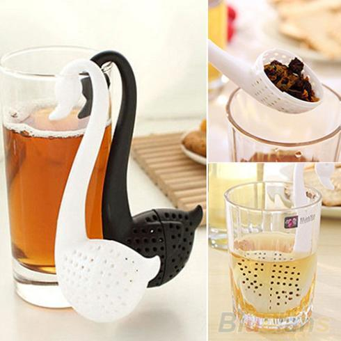 Cisne de plástico Forma de Chá Coador Herbal Spice Infusor Filtro Colher de Chá Coador Colador de te