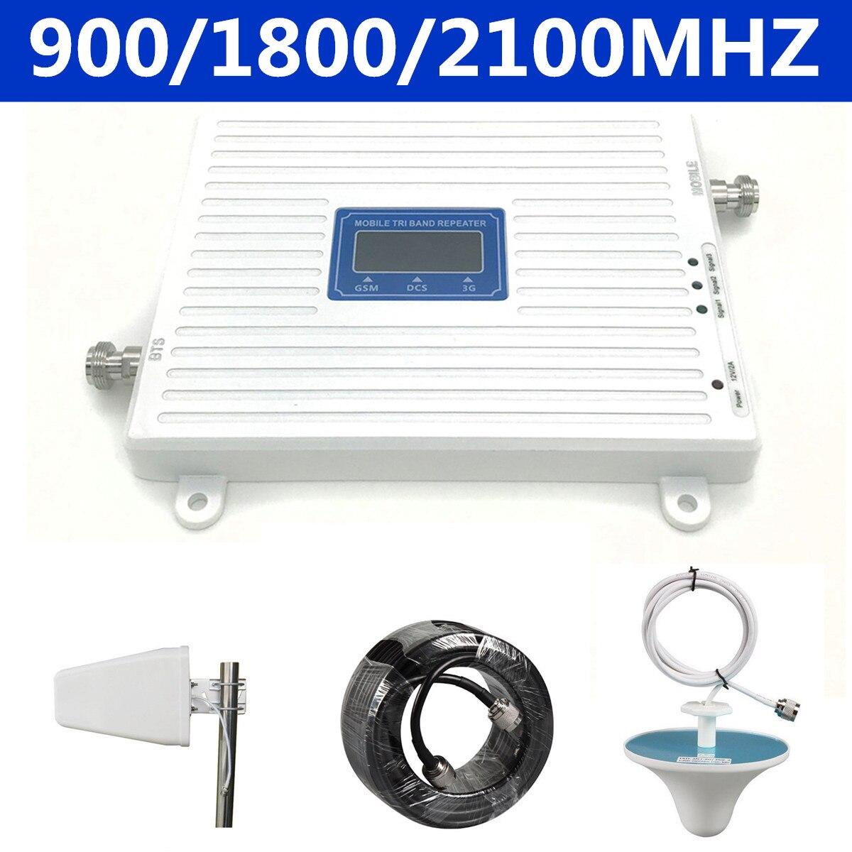 900 MHz 1800 MHz 2100 MHZ 2G 3G 4G Mobile Triple bande répéteur de Signal de téléphone Boosters avec câble d'antenne