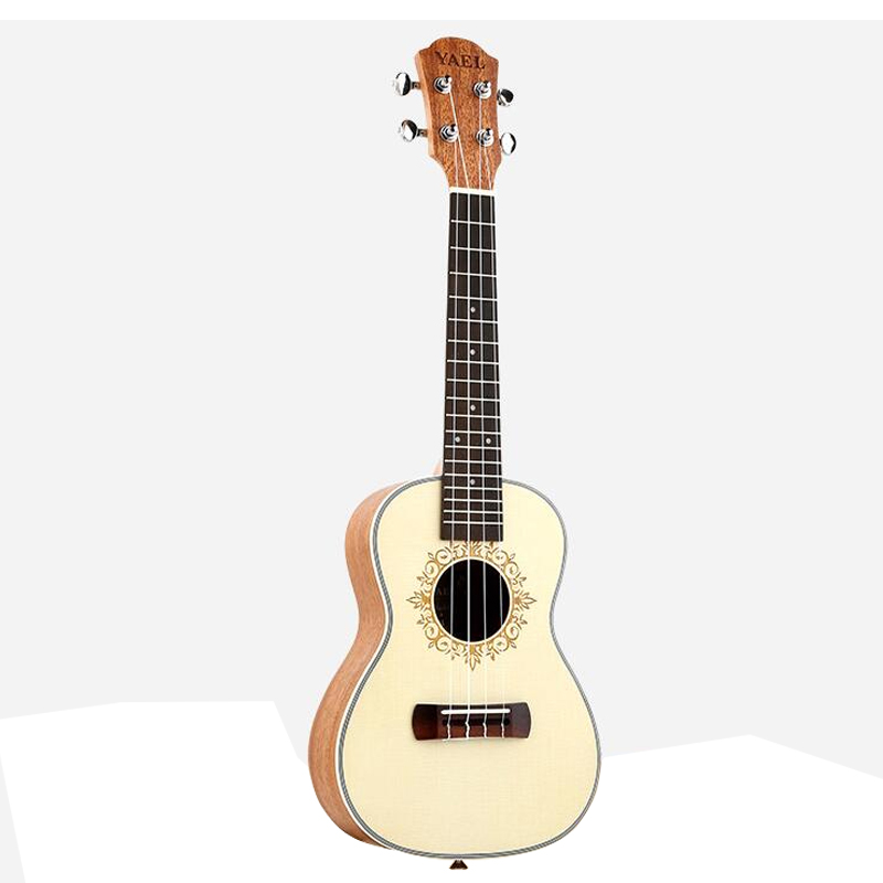 High Quality 26 Inch Ukulele 4 Nylon String Hawaiian Sapele Mini Acoustic Guitar Uku Guitar Concert Ukelele White Mahogan UK2601