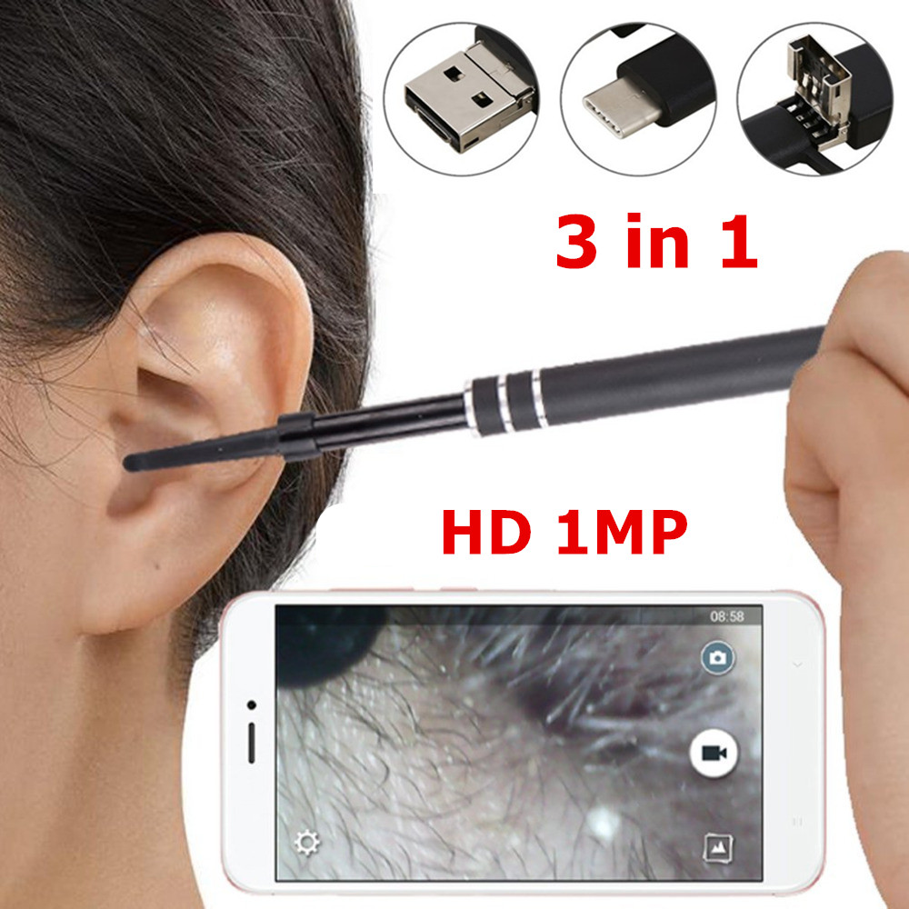 Ear Endoscope HD Visual Ear Spoon Multifunctional Earpick With Ear Health Care Cleaning Tool Universal for PC Smartphone medical led otoscope 3x magnification portable diagnostic kit ear cleaning endoscope hd visual ear spoon ear health care 30