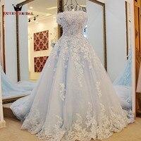 KRÓLOWA BRIDAL Suknia Balowa 2018 Nowy Cap Rękaw Koronki Kwiaty Prom suknie Niebieski Długi Korowód Sukni Przyjęcia Togi Vestidos De Fiesta BY03