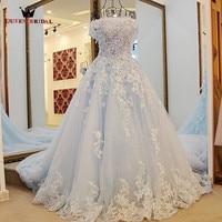 NỮ HOÀNG BRIDAL Gown Bóng 2018 New Cap Tay Áo Ren Hoa Prom Dresses Xanh Dài Pageant Dress Đảng Gown Vestidos De Fiesta BY03