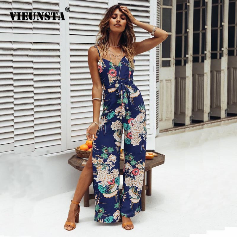 1462fa3c6bd VIEUNSTA Boho Floral Print Backless Women Jumpsuits Sexy V Neck Beach Strap  Playsuits Summer Wide Leg Side Split Jumpsuit Belt