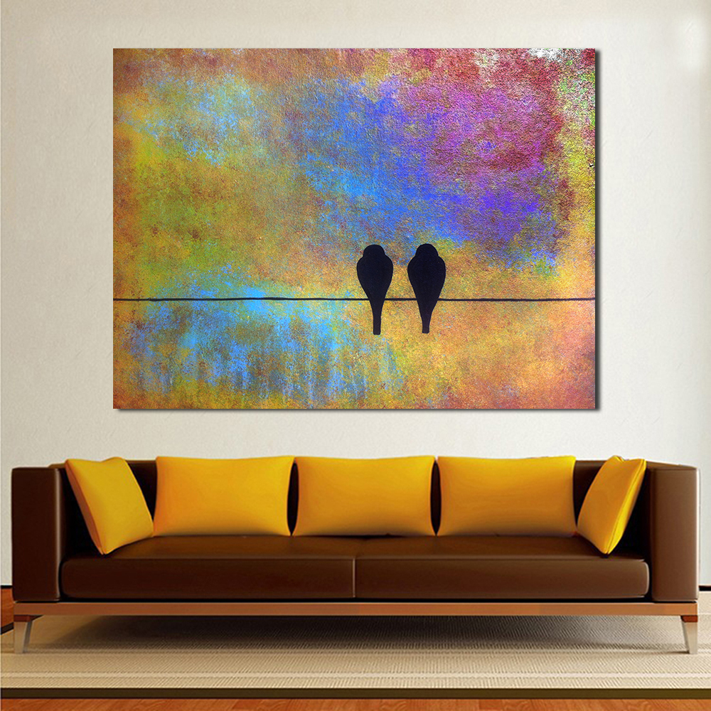 QCART Sing A Song Small Bird Of Abstraction Canvas Print Picture Home Decor Painting Wall Art Living Room Modern No Frame