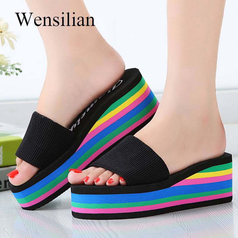 Summer Sandals Women Wedges Platform bath Slippers Beach Flip Flops Rainbow Thick Heel L ...
