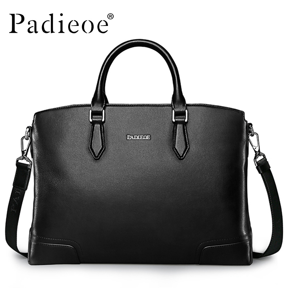 Padieoe Luxury Famous Brand Men Handbags Genuine Leather Bag Business Men Briefcase Laptop Shoulder Messenger Bags padieoe famous brand handbag men shoulder bags leather messenger bag business briefcase laptop bag men s tote bag free shipping