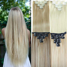Synthetic Hair Extension 23inch 160g Long Straight 7pcs/set Heat Resistance Fibre Straight Hair Clip Multicolor