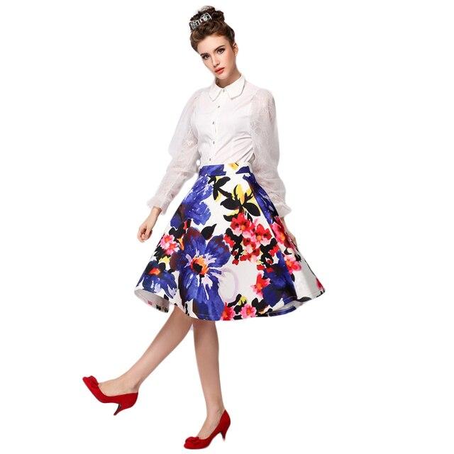 2015 Autumn New Fashion Floral Print Ball Gown Pleated Midi Skater ...
