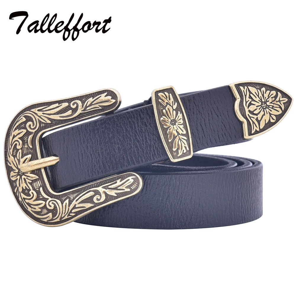 Talleffort Fashion Luxury Cow Genuine Leather Belts For Women With Vintage Carve -9435