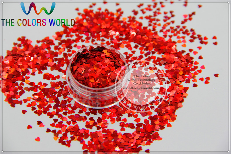 LM-3  Size 3 mm laser holographic Red color Glitter paillette  Heart  shape spangles for Nail Art  and DIY supplies tcf510 solvent resistant neon rose carmine color mickey mouse shape spangles for nail polish and other diy decoration1pack 50g