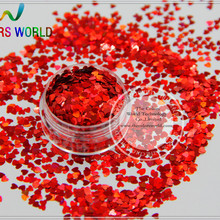 LM-3  Size 3 mm laser holographic Red color Glitter paillette  Heart  shape spangles for Nail Art  and DIY supplies