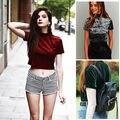 Модные Мягкие Женщины С Коротким Рукавом Бархат Футболка Случайные Свободные Топы Мода Водолазка Футболка