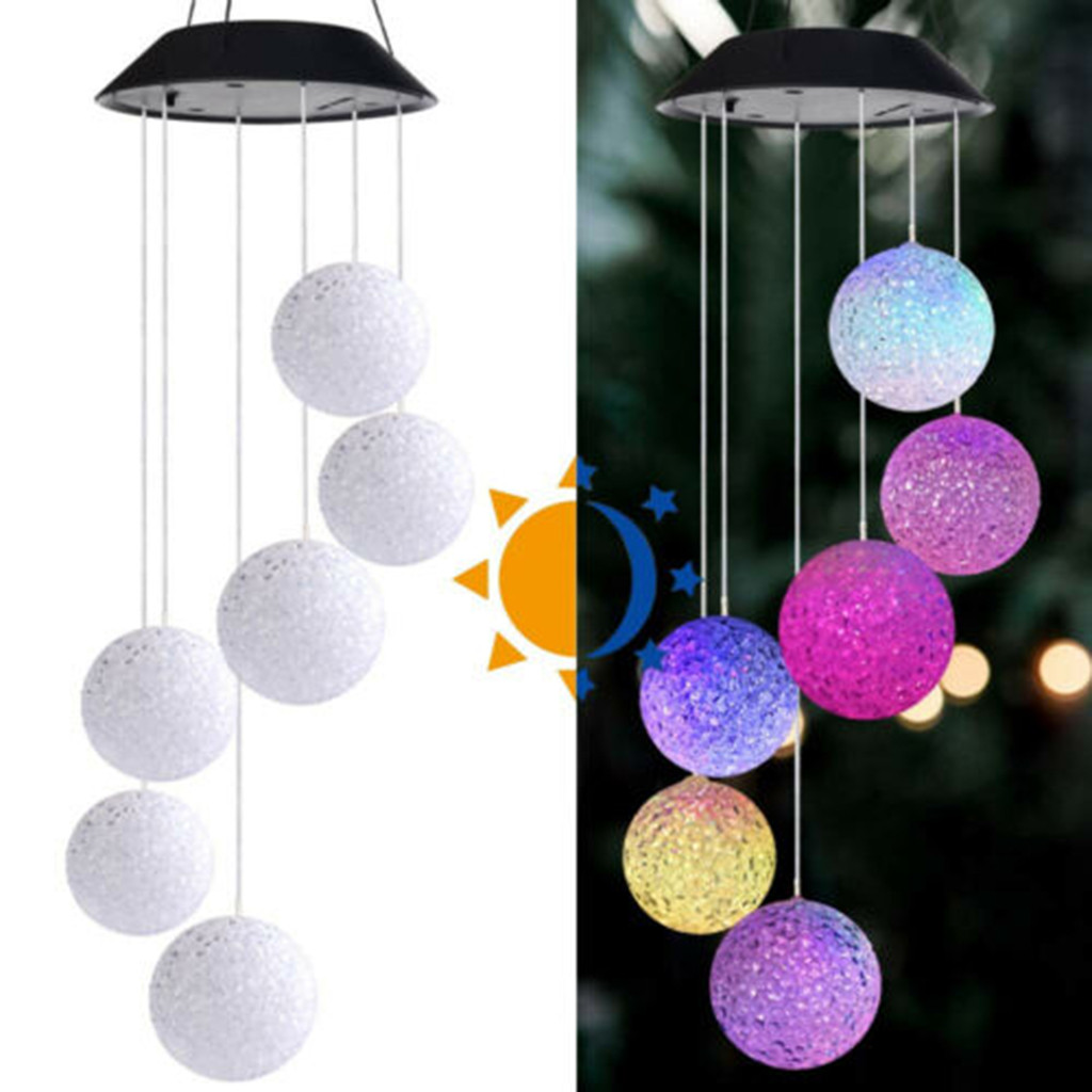 Led Solar Powered Butterfly Wind Chimes Light Home Garden