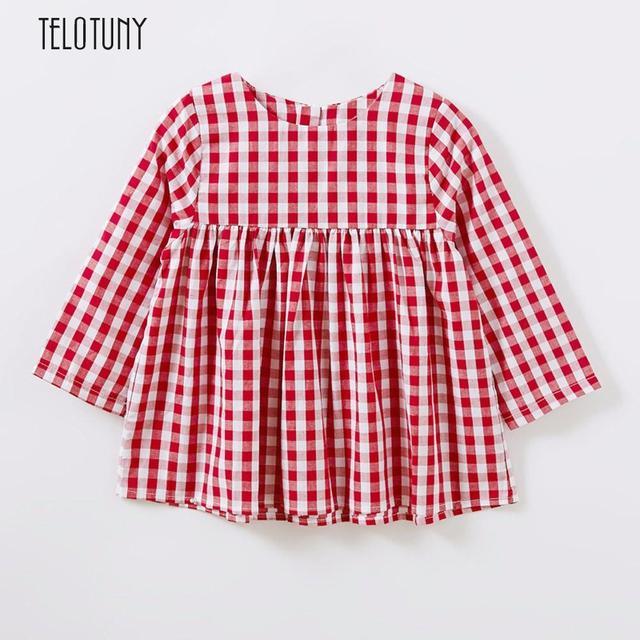 9a29cfe53066 TELOTUNY Toddler Kids Children Baby Girls Shirt Lattice Spring Dress  Outfits Long Sleeve Lattice Cotton Blend S3MAR13