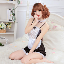 Hot Sell Sexy Exotic Apparel Lady Print Sheer Lace Costume Cosplay Baby Dolls French Maid Sexy Lingerie Outfit Fancy Dress Women