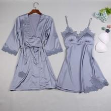 Абсолютно Шелковый Атласный Женский халат и платье наборы Лето 2 шт платье для сна+ халат Ночное белье сексуальное ночное платье Ночная рубашка домашняя одежда
