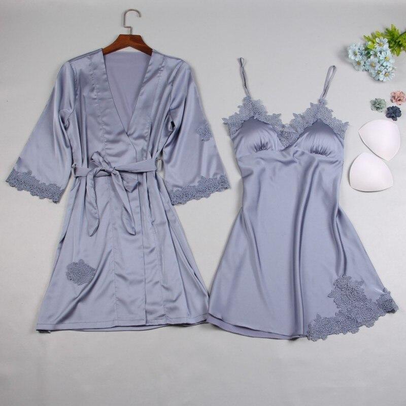 Абсолютно новый Шелковый Атласный Женский халат и платье наборы 2019 Лето 2 шт платье для сна + халат сексуальная пижама платье Ночная рубашка домашняя одежда