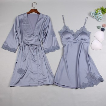Brand New Silk Satin Women Robe & Gown Sets 2019 Summer 2 Pcs Sleep Dress+Robe Sleepwear Sexy Night Gown Nightdress Home Wear