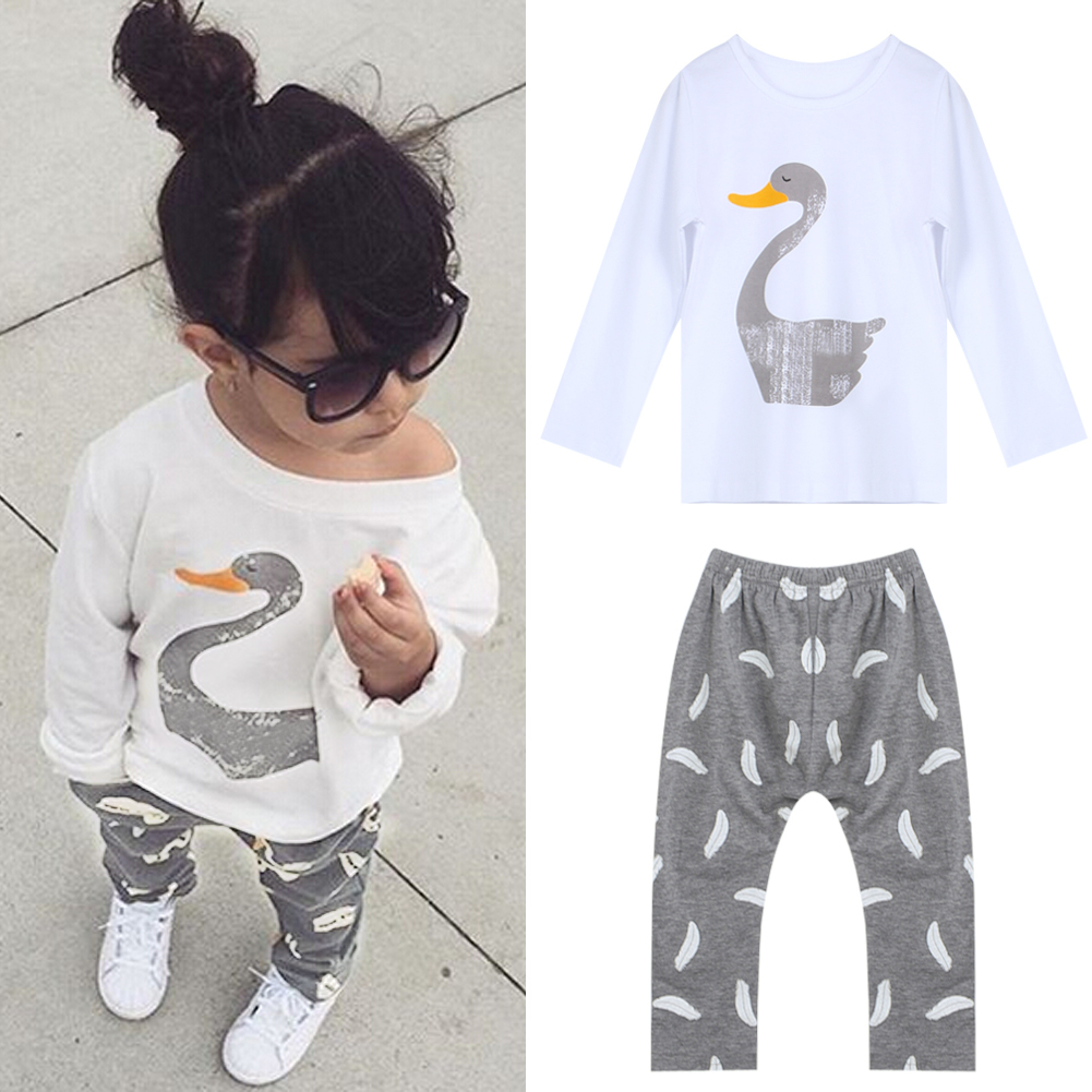 New Fashion Spring Kids Baby Girl Clothes Set Cute Swan Pullover T-Shirt Long Sleeve Tops+Floral Pants 2Pcs Outfits Set For 2-7Y книги нд плэй серия отгадай ка бандл 1