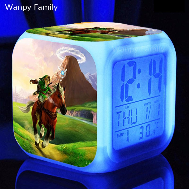 Action & Toy Figures The Legend Of Zelda Digital Alarm Clock 3d Game Action Figure Toys 7 Color Led Nightlight Cube Desktop Clock For Kids Gift
