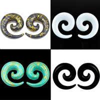 Bog-par acrílico espiral calibres branco orelha tapeadores alongamento plugues preto orelha túnel expansores corpo piercing jóias