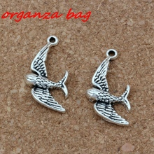 Cute little swallow bird Charms Pendants 100Pcs/lots 10x29mm Antique Silver Fashion Jewelry DIY Fit Bracelets Necklace Earrings