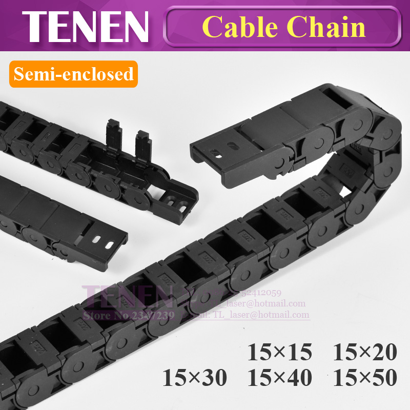 Cable Chain Semi Enclosed 15x40 20 30 50mm Wire Transmission Carrier Plastic Drag Towline For 3D Printer CNC Engraving Machine
