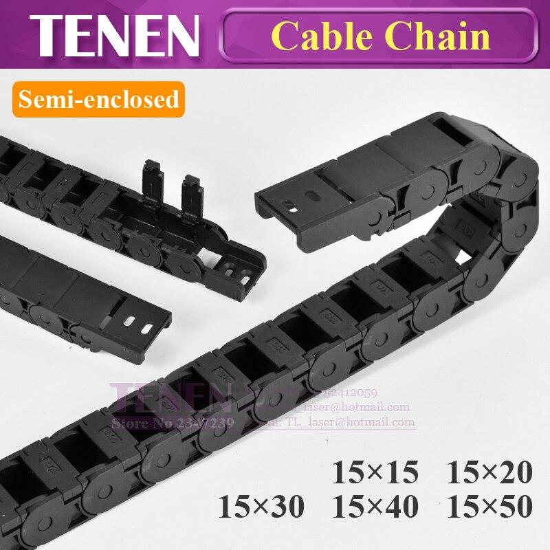 Cadena de Cable Semi adjunta 15x40 20 30 50mm de alambre transmisión portador de plástico a Towline para 3D impresora máquina de grabado CNC