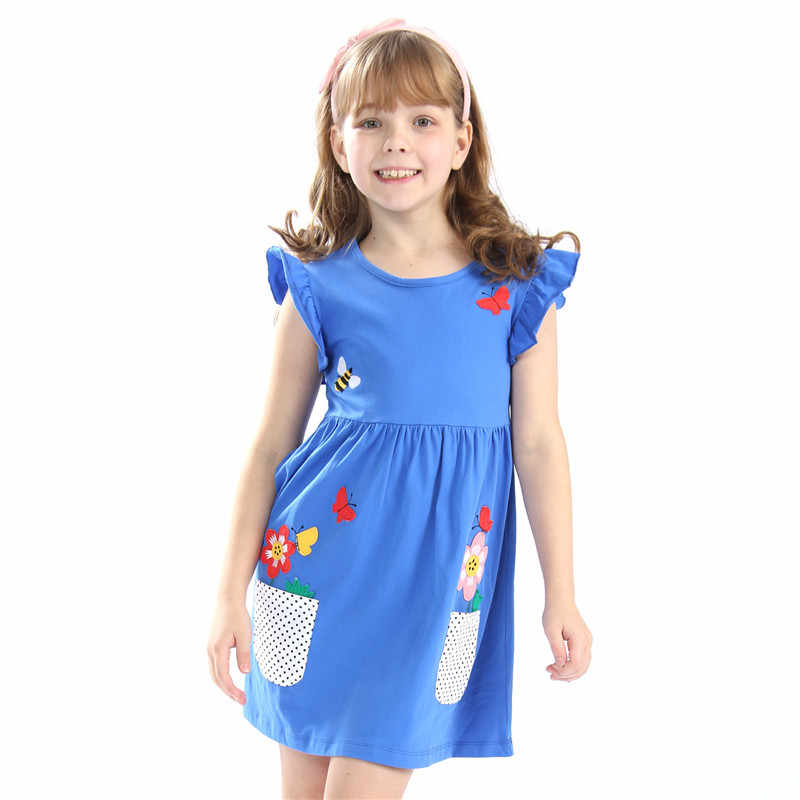 Little Bitty nieuwe jurken meisjes zomer top merk katoen kinderen kleding jersey applique baby kleding voor 3-12 meisje jurk jurken