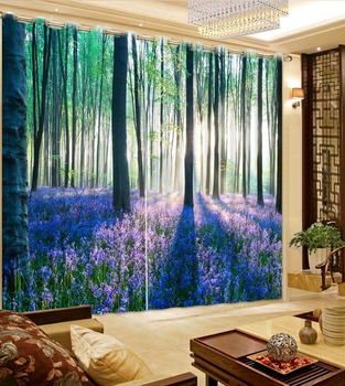 Home Decor Custom 3D Window Curtains Kids room Curtain Hooks Polyester Blackout Forest Curtains