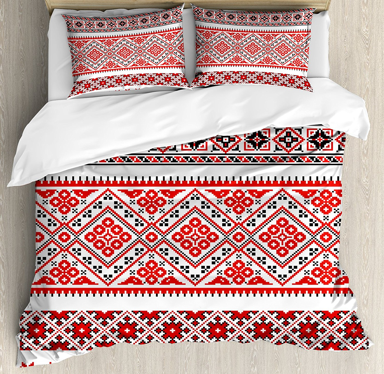 Art Duvet Cover Set Traditional Ukrainian Borders Frames Ornaments Old Fashioned Cultural Motifs, Decorative 4 Piece Bedding Set