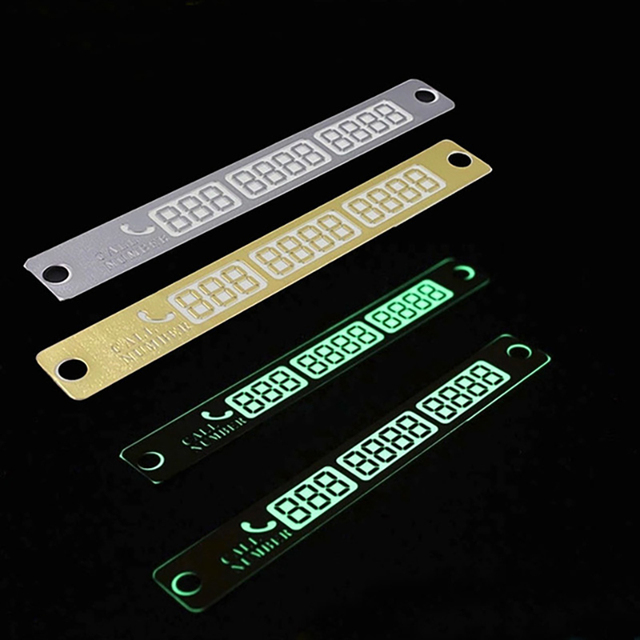 Car Styling Telephone Number Card Sticker 15*2cm Night Luminous Temporary Car Parking Card Plate Suckers Phone Number Card 2
