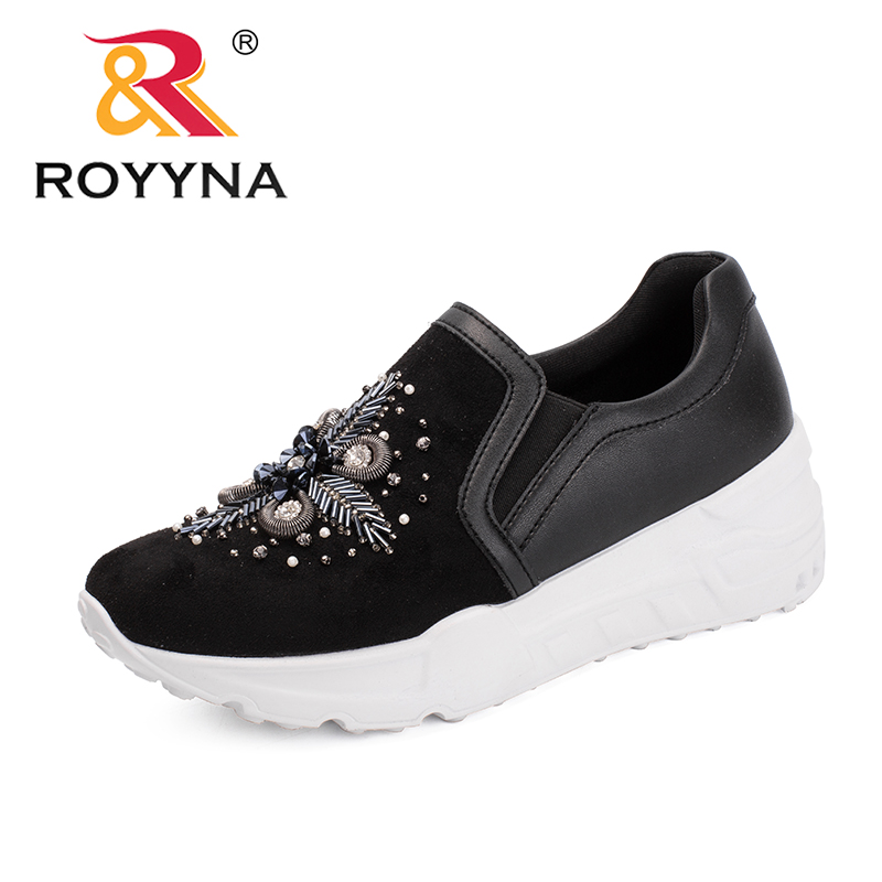 ROYYNA New Fashion Style Women Flats Elastic Band Women Casual Shoes Floral Outdoor Sneakers Shoes Comfortable Free Shipping