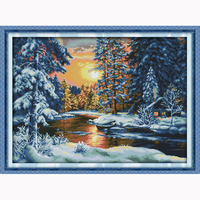 Pôr do sol paisagem da neve Padrões 14ct Contados Cross Stitch Define DMC Cross Stitch DIY Cross Stitch Kits para Bordar Needlework