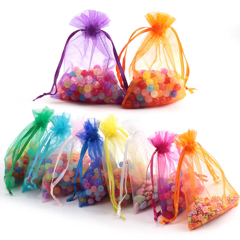 100pcs/lot 5*7cm organza bag Christmas wedding gift bag jewelry packing Display jewelry bag&pouch favor bags 23 colors optional