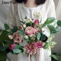 JaneVini Romantic Wedding Bouquets Pink Silk Bridal Flowers Green Leaves Eucalyptus Outdoor Brides Fake Bouquet Rose Articielle