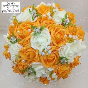 Image 4 - Perfectlifeoh bukiet ślubny gorąca sprzedaż sztuczne kwiaty róży perły panna młoda koronki ślubne akcenty bukiety ślubne ze wstążką