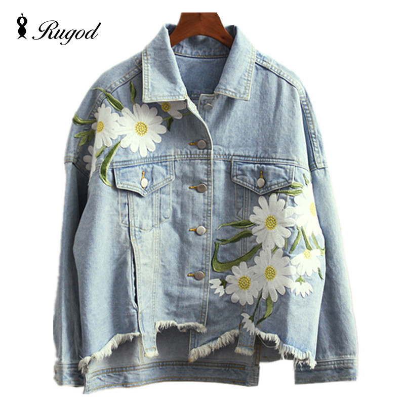2019 New Fashion Arrival Women's Embroidery Denim Jackets Vintage Casual Long Sleeve Loose   Coat   Female Jean Jacket Outerwear