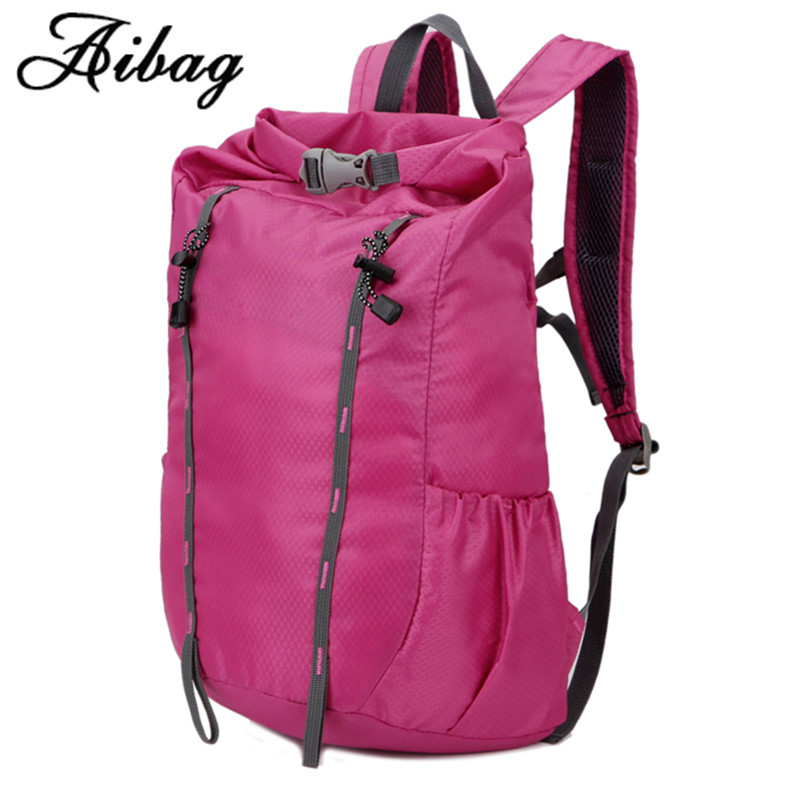 AIBAG Fashion School bag Waterproof Nylon Travel Men Backpack Folding Bag Women Mochila Travel Bag Rucksack Trekking Bag Unisex