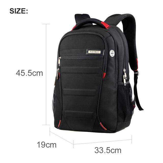 AspenSport Laptop Backpacks Men for 15-17 inch Computer School Bags Boy Travel Waterproof Anti-theft Notebook Black