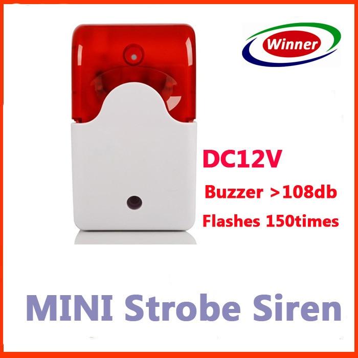 Indoor Mini Wired Alarm Siren with Stroble flash light 12V DC Buzzer anti cut siren alarm dc 9 12v