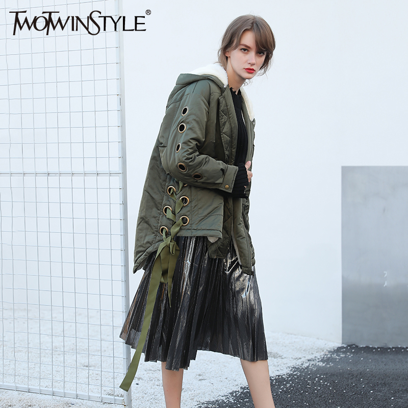 TWOTWINSTYLE Winter Jacket Women Parka Coats Real Fur Hooded Down Jackets Lace up Long Sleeve Casual Clothes Korean Army Green down jacket women 2017 korean long sleeve ladies down jackets larger medium long down women s winter jacket with a hood e0646