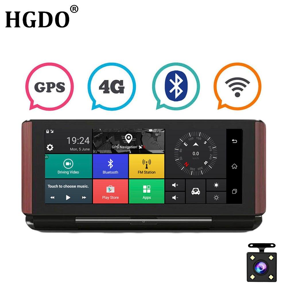 HGDO Android регистраторы gps навигации 7 дюймов Большой Экран 4 г/3g Wi Fi Bluetooth FHD 1080 P заднего вида камера вождения Регистраторы