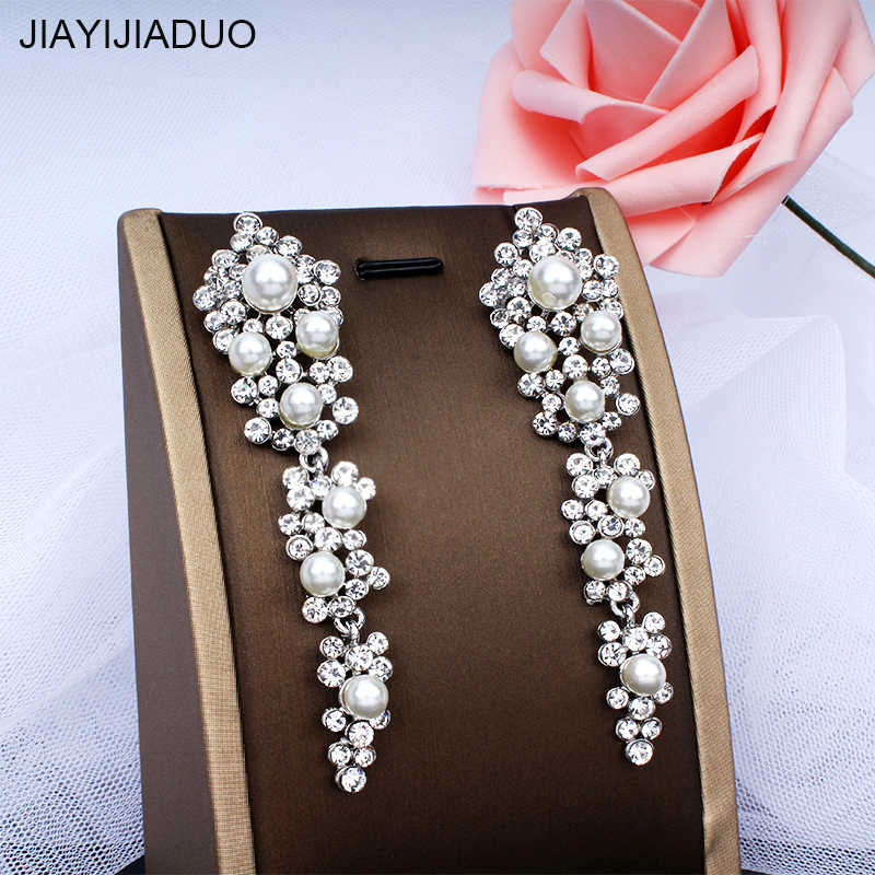 jiayijiaudoImitation pearl wedding long earrings noble women's wedding dress accessories gift earrings dropshipping