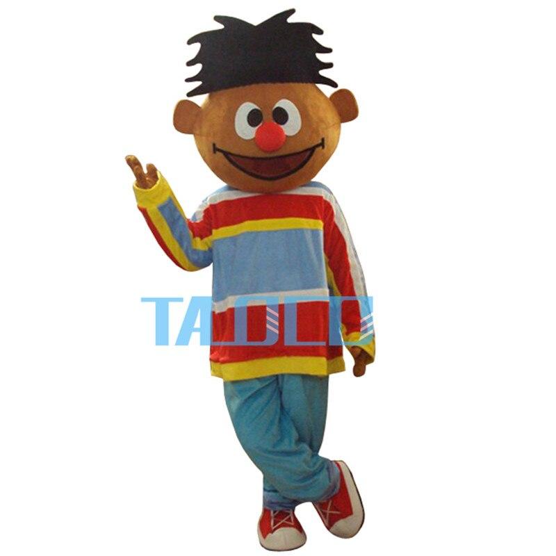 Sole Arancione Ragazzo Lad Ernie Sesame Street Costume Della Mascotte Con Il Rosso Conglobate Big Nose Blu Pantaloni Adulto Formato Spedizione Gratuita