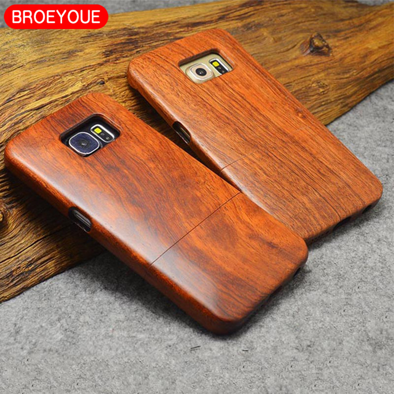 BROEYOUE Wood Case For Samsung Galaxy S5 S6 S7 S8 S9 Edge Plus Note 3 4 5 8 Phone Cases Cover 100% Natural Bamboo Carving Fundas