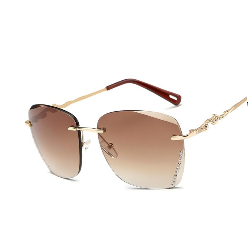 ახალი მოდის ფუფუნების ბრენდის დიზაინი Rimless სათვალე ქალები საზაფხულო მაგარი დიდი ჩარჩო გრადიენტი მზის სათვალეები oculos de madeira UV400