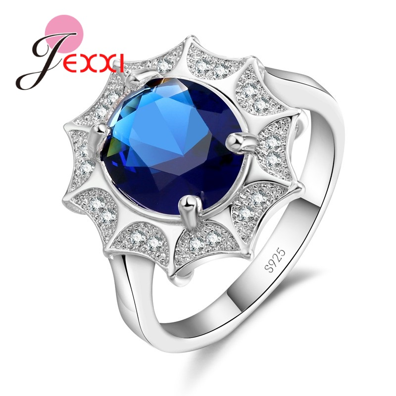 Jexxi Элегантная мода 925 стерлингового серебра кубического циркония свадебные Обручальные кольца для женщины anillos Bijoux Luxury Promise Ring